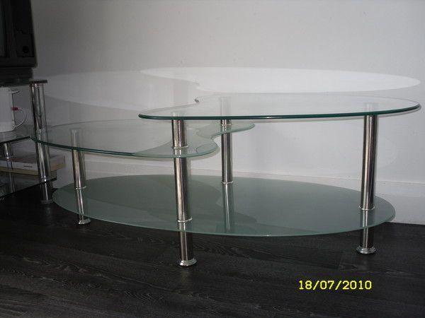 Table basse verre 3 plateaux for Table basse tout en verre
